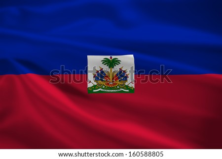 Haiti flag blowing in the wind. Background texture.