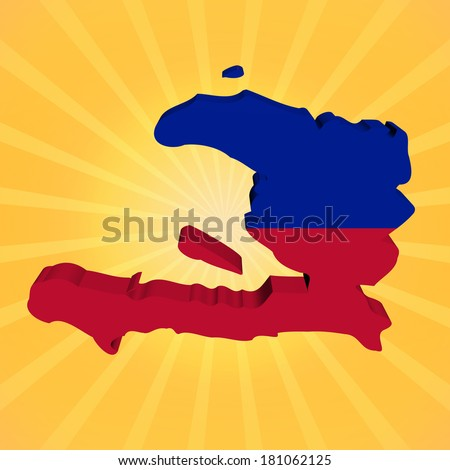 Haiti map flag on sunburst illustration