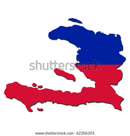 Haiti map flag with shadow illustration JPEG