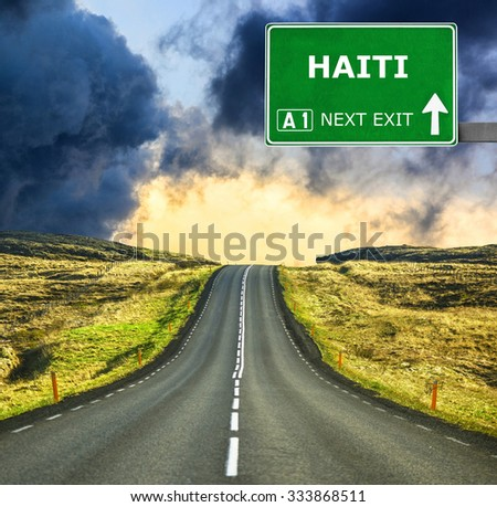 HAITI road sign against clear blue sky