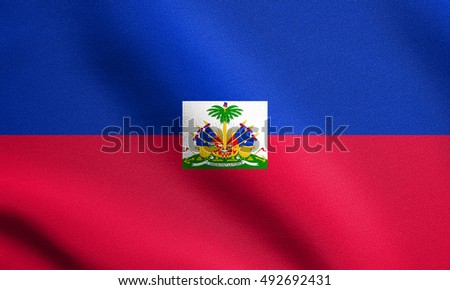 Haitian national official flag. Patriotic symbol, banner, element, background. Flag of Haiti waving in the wind with detailed fabric texture