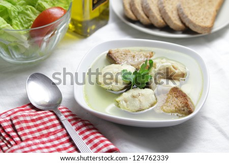 hake soup with wohle bread