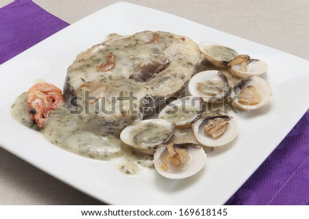 Hake with clams in Green Sauce - stock photo