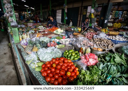 HAKHA, MYANMAR - JUNE 19 2015: Local market in the Hakha region in Chin State, Myanmar. - stock photo