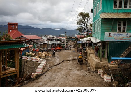 HAKHA, MYANMAR - JUNE 19 2015: Local people in the Hakha region in Chin State, Myanmar. - stock photo