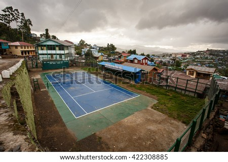 HAKHA, MYANMAR - JUNE 19 2015: Tennis courts in the recently opened area to foreigners - Hakha region in Chin State, Myanmar. - stock photo
