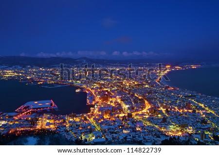 Hakodate City night sight  top view from Hakodate Mountain - stock photo