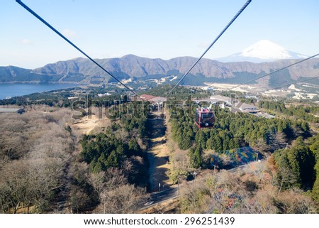 Hakone, Tokyo, Japan - JAN 8, 2015: Hakone Ropeway operates from Sounzan Station to Togendai Station, allows visitors to take in spectacular views as the crystal-clear blue waters of Lake Ashi - stock photo