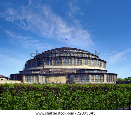 Hala Stulecia (Centennial Hall) also known as Hala Ludowa (People's Hall) in Wroclaw, Poland,  UNESCO World Heritage Site - stock photo