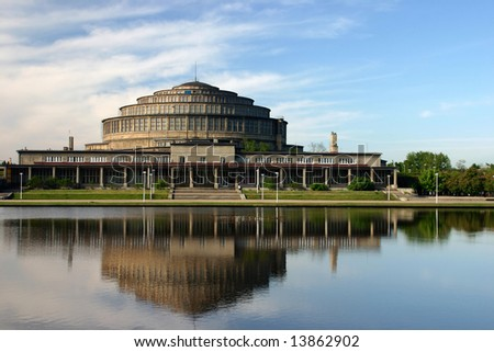 Hala Stulecia (Centential Hall) also known as Hala Ludowa (People's Hall) in Wroclaw, Poland photographed early morning.