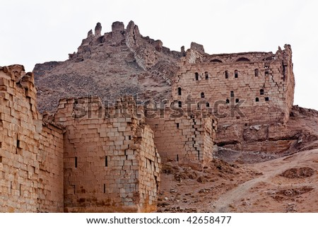 Halabia is situated on the Euphrates, as part of the Silk Road until the downfall of Palmyra (queen Zenobia). During the reign of the Byzantines was restored with massive fortifications. - stock photo