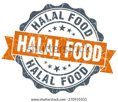 halal food vintage orange seal isolated on white - stock photo