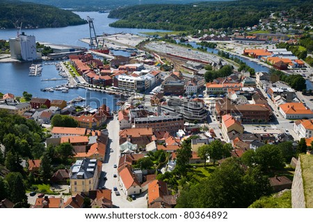 Halden city view up from the Fortress Fredriksten - stock photo