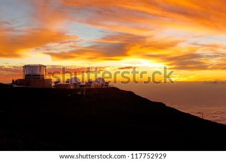 Haleakala crater at sunset, at Haleakala National Park, Maui, Hawai'i. - stock photo