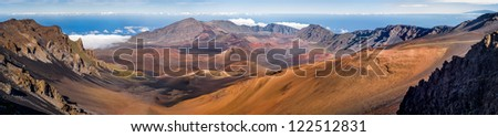 Haleakala crater on top of the volcano, Maui, Hawaii. Very high resolution panorama. - stock photo