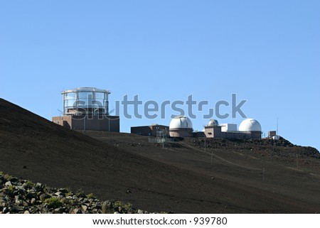 Haleakala High Altitude Observatory Site located at the summit of the Haleakala Crater on the island of Maui in Hawaii. - stock photo