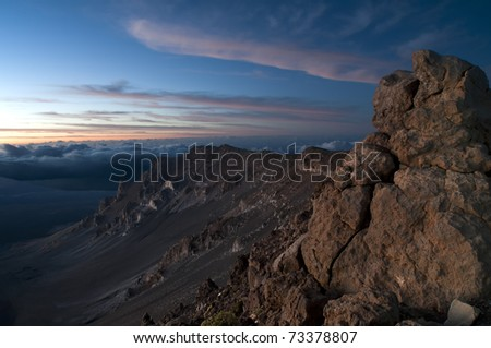 Haleakala National Park Volcanic Mountain located in Maui, Hawaii. Photograph taken at sunrise. - stock photo
