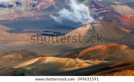 Haleakala volcano crater, Maui Hawaii - stock photo