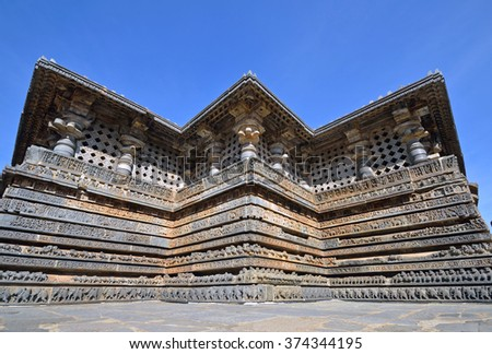 HALEBIDU, INDIA - FEBRUARY 2 2016: Hoysaleswara temple is a Hindu temple dedicated to god Shiva and was built by the Hoysala Empire in the twelfth century.