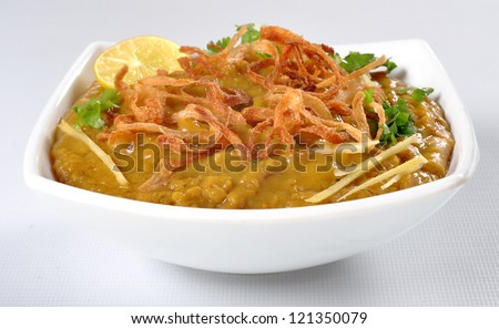 Haleem in White Dish - stock photo
