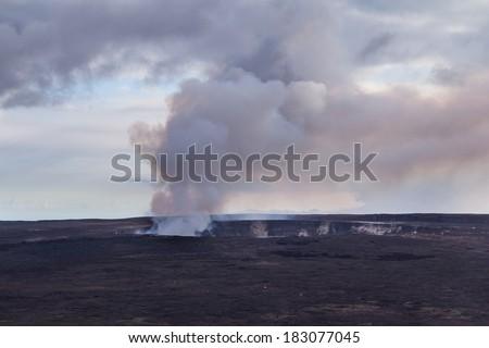 Halemaumau Crater in Hawaii Volcanoes National Park on the Big Island of Hawaii - stock photo