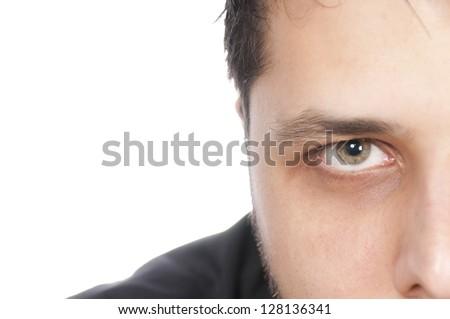 Half a face with green eye - stock photo