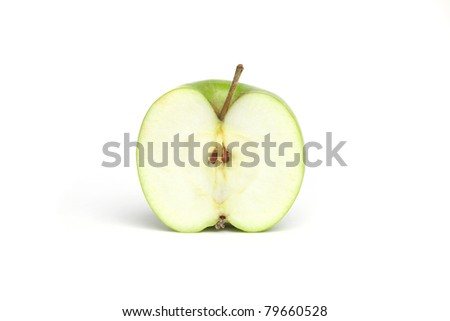 Half a Green Granny Smith Apple - stock photo