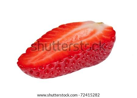 Half a Strawberry on a white background - stock photo