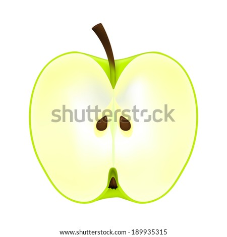 half an apple on a white background - stock photo