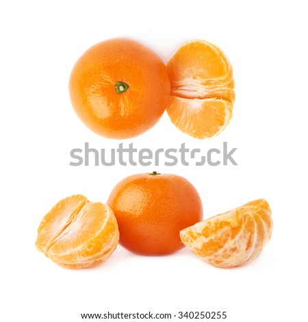 Half and fresh juicy tangerine fruit served isolated over the white background - stock photo
