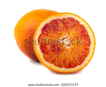Half and full bloody red oranges isolated on white background