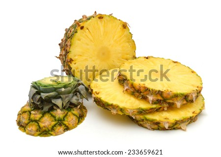 half and slice pineapple on white background