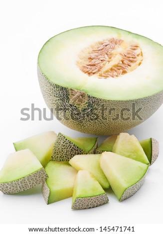 Half and Sliced Cantaloupe Isolated on White Background  - stock photo