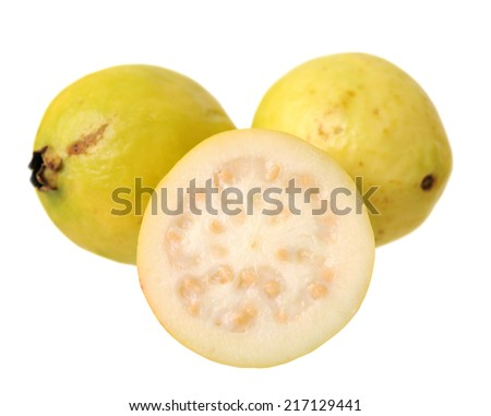 half and whole guava isolated on white background  - stock photo