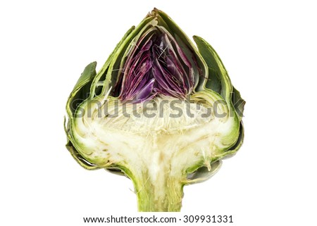 half artichoke, showing the heart and choke under the green and red leaves,  isolated on a white background - stock photo
