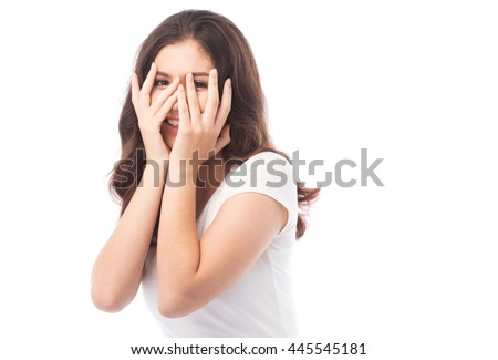 half asian woman shy on white background