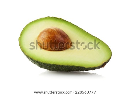 Half Avocado fruit isolated on white with clipping path - stock photo