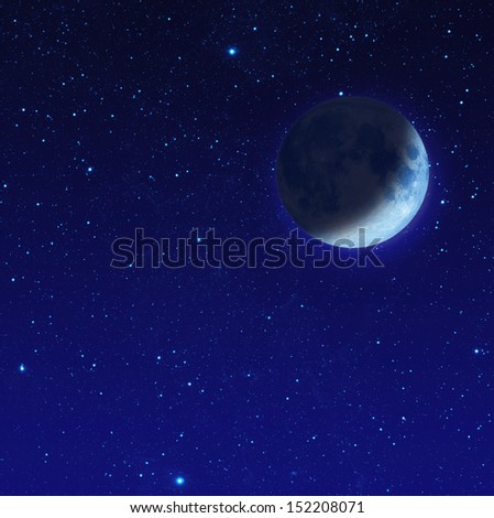 half blue moon or crescent moon with star at dark night sky - stock photo