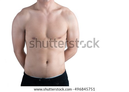 Half body of male crossing his hand behind isolated on white background.