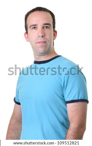 Half body shot of an average guy wearing a blue shirt, isolated against a white background. - stock photo