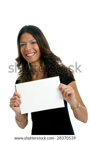 Half body view of woman holding a blank sign in business wear, with free space for custom message. Isolated on white background.