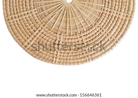 Half-Circled Rattan Mat on white background - stock photo