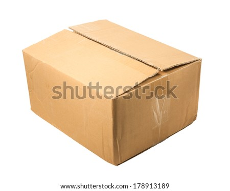 half-closed brown cardboard box for packing ,isolated on a white background.