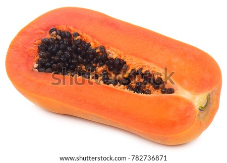 Half cut papaya fruits isolated on white background