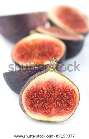 half cutted fresh fig fruits