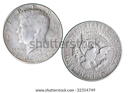 Half dollar coin with J.F. Kennedy portrait - stock photo