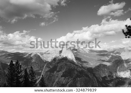 half dome at the yosemite national parkblack and white park black
