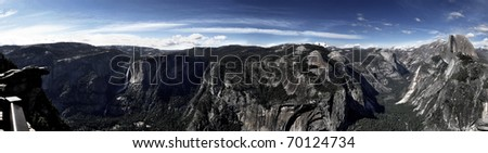 Half Dome, Clouds Rest, Yosemite Falls and the Valley viewed from Glacier Point - stock photo