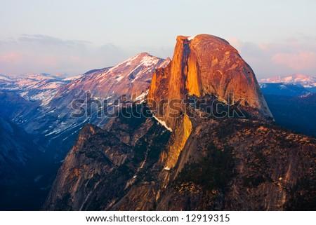 Half Dome in Yosemite at sunset - stock photo