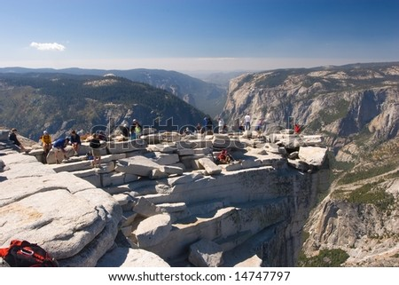 Half Dome is a granite dome in Yosemite National Park, located at the eastern end of Yosemite Valley - stock photo